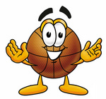 Clip art Graphic of a Basketball Cartoon Character With Welcoming Open Arms