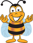 Clip art Graphic of a Honey Bee Cartoon Character With Welcoming Open Arms