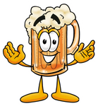 Clip art Graphic of a Frothy Mug of Beer or Soda Cartoon Character With Welcoming Open Arms