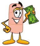 Clip art Graphic of a Bandaid Bandage Cartoon Character Holding a Dollar Bill