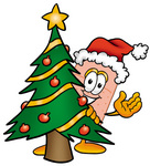 Clip art Graphic of a Bandaid Bandage Cartoon Character Waving and Standing by a Decorated Christmas Tree