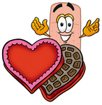 Clip art Graphic of a Bandaid Bandage Cartoon Character With an Open Box of Valentines Day Chocolate Candies
