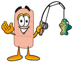 Clip art Graphic of a Bandaid Bandage Cartoon Character Holding a Fish on a Fishing Pole