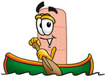 Clip art Graphic of a Bandaid Bandage Cartoon Character Rowing a Boat