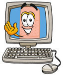 Clip art Graphic of a Bandaid Bandage Cartoon Character Waving From Inside a Computer Screen