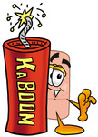 Clip art Graphic of a Bandaid Bandage Cartoon Character Standing With a Lit Stick of Dynamite