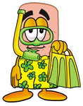 Clip art Graphic of a Bandaid Bandage Cartoon Character in Green and Yellow Snorkel Gear