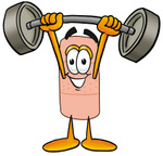 Clip art Graphic of a Bandaid Bandage Cartoon Character Holding a Heavy Barbell Above His Head