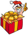 Clip art Graphic of a Bandaid Bandage Cartoon Character Standing by a Christmas Present
