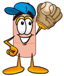 Clip art Graphic of a Bandaid Bandage Cartoon Character Catching a Baseball With a Glove
