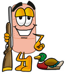 Clip art Graphic of a Bandaid Bandage Cartoon Character Duck Hunting, Standing With a Rifle and Duck