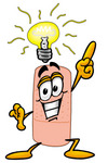 Clip art Graphic of a Bandaid Bandage Cartoon Character With a Bright Idea
