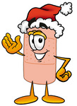 Clip art Graphic of a Bandaid Bandage Cartoon Character Wearing a Santa Hat and Waving
