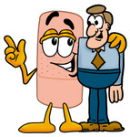 Clip art Graphic of a Bandaid Bandage Cartoon Character Talking to a Business Man