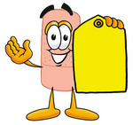 Clip art Graphic of a Bandaid Bandage Cartoon Character Holding a Yellow Sales Price Tag