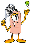 Clip art Graphic of a Bandaid Bandage Cartoon Character Preparing to Hit a Tennis Ball