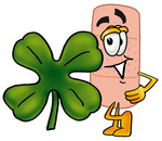 Clip art Graphic of a Bandaid Bandage Cartoon Character With a Green Four Leaf Clover on St Paddy's or St Patricks Day