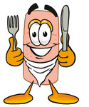 Clip art Graphic of a Bandaid Bandage Cartoon Character Holding a Knife and Fork