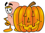Clip art Graphic of a Bandaid Bandage Cartoon Character With a Carved Halloween Pumpkin
