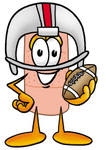 Clip art Graphic of a Bandaid Bandage Cartoon Character in a Helmet, Holding a Football