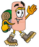 Clip art Graphic of a Bandaid Bandage Cartoon Character Hiking and Carrying a Backpack