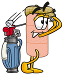 Clip art Graphic of a Bandaid Bandage Cartoon Character Swinging His Golf Club While Golfing