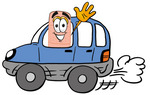 Clip art Graphic of a Bandaid Bandage Cartoon Character Driving a Blue Car and Waving