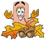 Clip art Graphic of a Bandaid Bandage Cartoon Character With Autumn Leaves and Acorns in the Fall