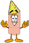 Clip art Graphic of a Bandaid Bandage Cartoon Character Wearing a Birthday Party Hat