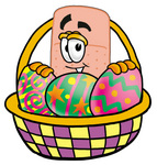 Clip art Graphic of a Bandaid Bandage Cartoon Character in an Easter Basket Full of Decorated Easter Eggs