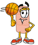 Clip art Graphic of a Bandaid Bandage Cartoon Character Spinning a Basketball on His Finger