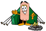 Clip art Graphic of a Bandaid Bandage Cartoon Character Camping With a Tent and Fire