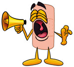 Clip art Graphic of a Bandaid Bandage Cartoon Character Screaming Into a Megaphone