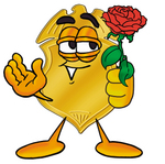 Clip art Graphic of a Gold Law Enforcement Police Badge Cartoon Character Holding a Red Rose on Valentines Day