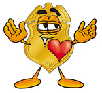 Clip art Graphic of a Gold Law Enforcement Police Badge Cartoon Character With His Heart Beating Out of His Chest