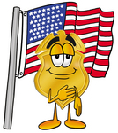 Clip art Graphic of a Gold Law Enforcement Police Badge Cartoon Character Pledging Allegiance to an American Flag