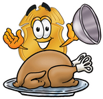 Clip art Graphic of a Gold Law Enforcement Police Badge Cartoon Character Serving a Thanksgiving Turkey on a Platter