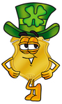 Clip art Graphic of a Gold Law Enforcement Police Badge Cartoon Character Wearing a Saint Patricks Day Hat With a Clover on it