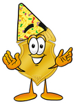 Clip art Graphic of a Gold Law Enforcement Police Badge Cartoon Character Wearing a Birthday Party Hat
