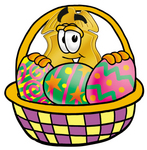 Clip art Graphic of a Gold Law Enforcement Police Badge Cartoon Character in an Easter Basket Full of Decorated Easter Eggs