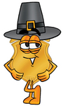 Clip art Graphic of a Gold Law Enforcement Police Badge Cartoon Character Wearing a Pilgrim Hat on Thanksgiving