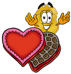 Clip art Graphic of a Gold Law Enforcement Police Badge Cartoon Character With an Open Box of Valentines Day Chocolate Candies