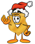 Clip art Graphic of a Gold Law Enforcement Police Badge Cartoon Character Wearing a Santa Hat and Waving