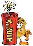 Clip art Graphic of a Gold Law Enforcement Police Badge Cartoon Character Standing With a Lit Stick of Dynamite