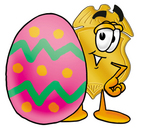 Clip art Graphic of a Gold Law Enforcement Police Badge Cartoon Character Standing Beside an Easter Egg