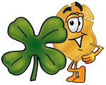 Clip art Graphic of a Gold Law Enforcement Police Badge Cartoon Character With a Green Four Leaf Clover on St Paddy's or St Patricks Day