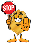 Clip art Graphic of a Gold Law Enforcement Police Badge Cartoon Character Holding a Stop Sign