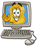 Clip art Graphic of a Gold Law Enforcement Police Badge Cartoon Character Waving From Inside a Computer Screen