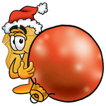Clip art Graphic of a Gold Law Enforcement Police Badge Cartoon Character Wearing a Santa Hat, Standing With a Christmas Bauble