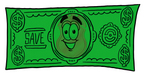 Clip art Graphic of a Gold Law Enforcement Police Badge Cartoon Character on a Dollar Bill